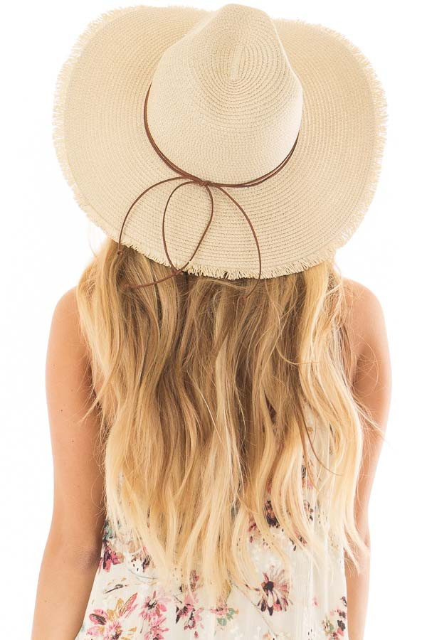 Natural Straw Wide Brim Hat with Dark Tan Tie back view