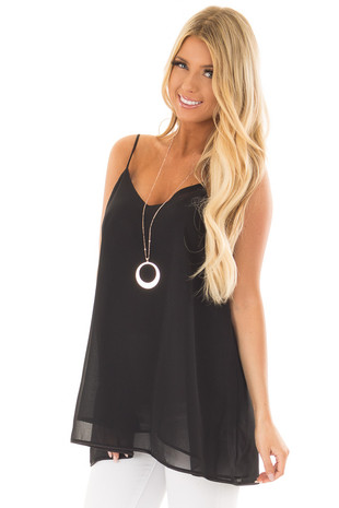 Black Flowy V Neck Tank Top front close up