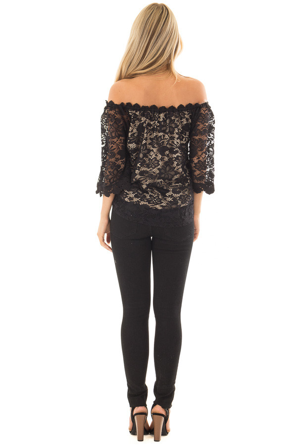 Black Off the Shoulder Top with Sheer Lace Detail back full body