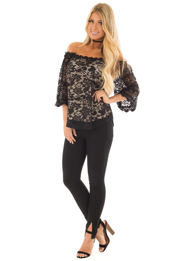 Black Off the Shoulder Top with Sheer Lace Detail front full body