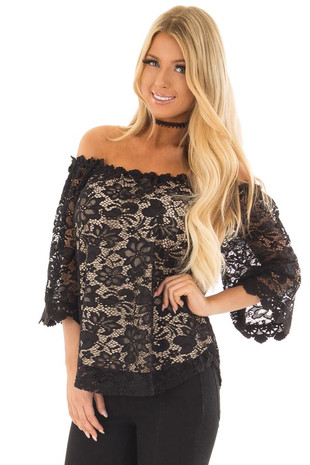 Black Off the Shoulder Top with Sheer Lace Detail front close up