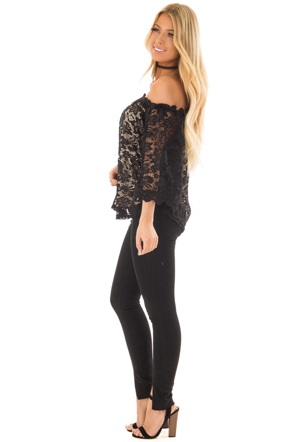 Black Off the Shoulder Top with Sheer Lace Detail side full body