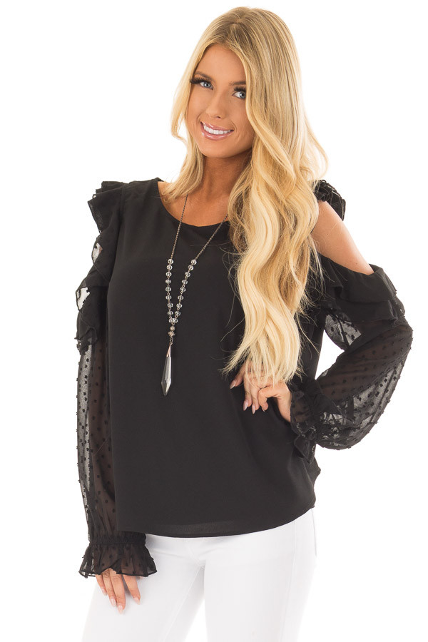 Black Cold Shoulder Top with Textured Polka Dot Sleeves front close up