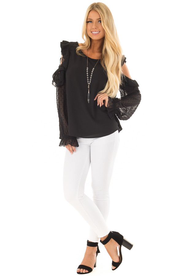 Black Cold Shoulder Top with Textured Polka Dot Sleeves front full body