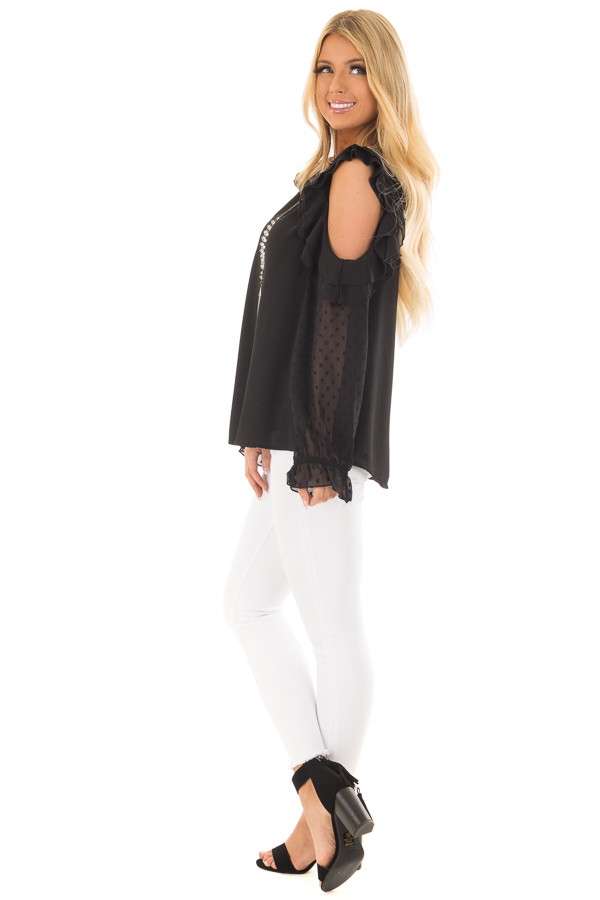 Black Cold Shoulder Top with Textured Polka Dot Sleeves side full body