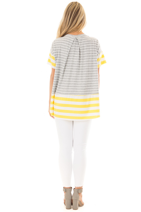 Heather Grey and Sunshine Yellow Striped Comfy Tee back full body