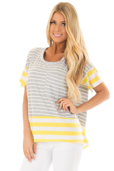 Heather Grey and Sunshine Yellow Striped Comfy Tee front close up