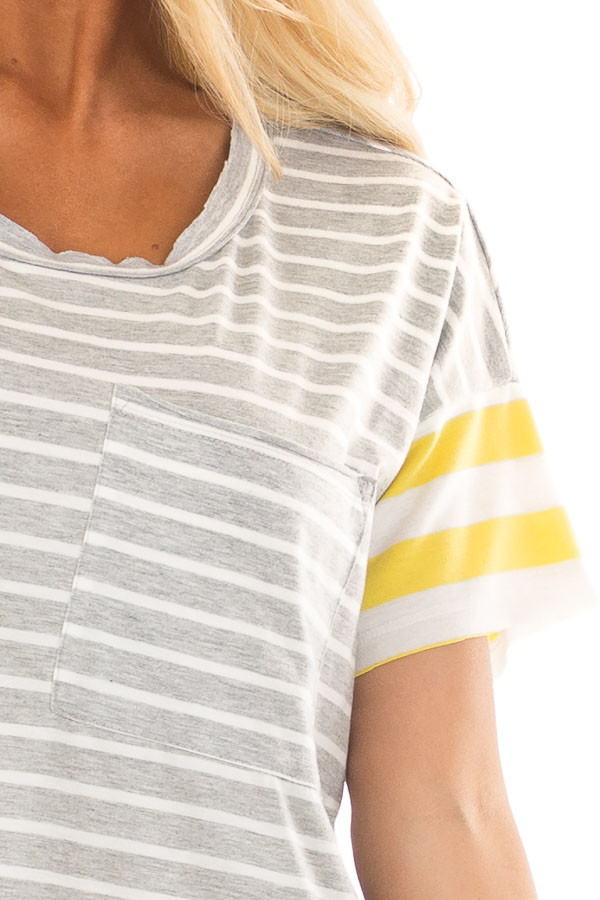 Heather Grey and Sunshine Yellow Striped Comfy Tee detail