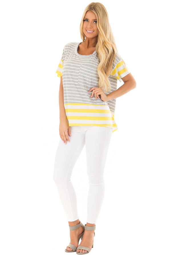 Heather Grey and Sunshine Yellow Striped Comfy Tee front full body