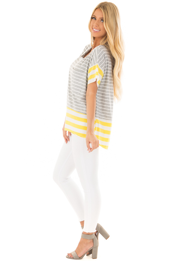 Heather Grey and Sunshine Yellow Striped Comfy Tee side full body