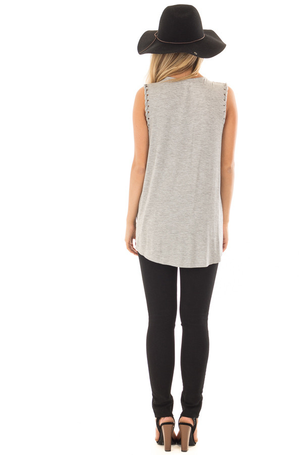 Heather Grey Surplice Tank Top with Front Twist back full body