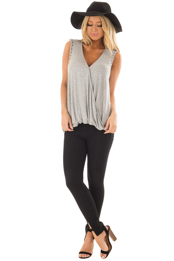 Heather Grey Surplice Tank Top with Front Twist front full body