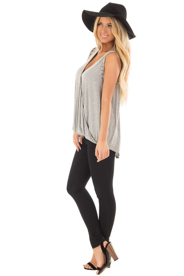 Heather Grey Surplice Tank Top with Front Twist side full body