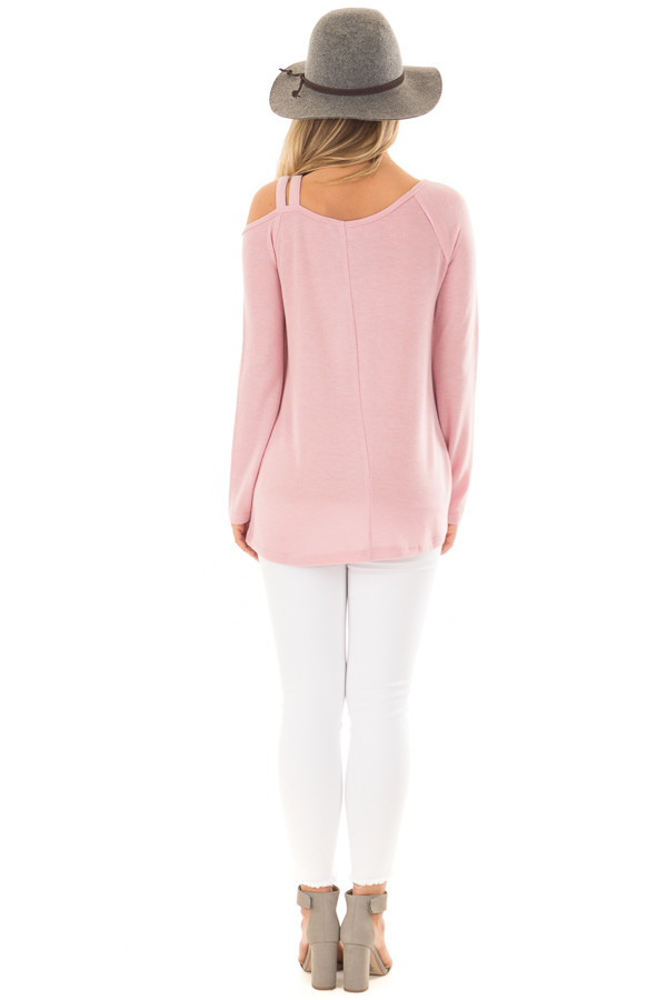 Blush Long Sleeve Top with Double Strap Cold Shoulder back full body