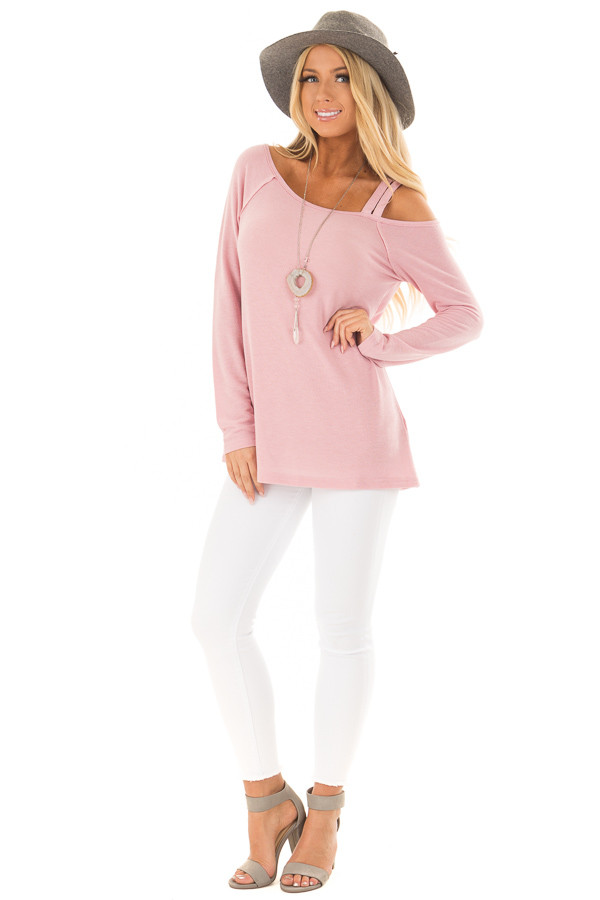 Blush Long Sleeve Top with Double Strap Cold Shoulder front full body