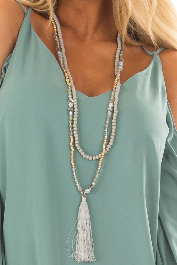Grey Beaded Layered Necklace with Tassel Pendant close up