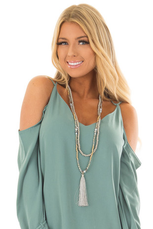 Grey Beaded Layered Necklace with Tassel Pendant