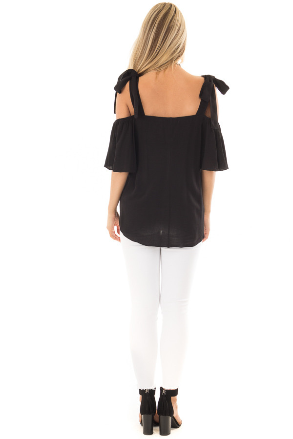 Black Cold Shoulder Top with Tie Straps back full body