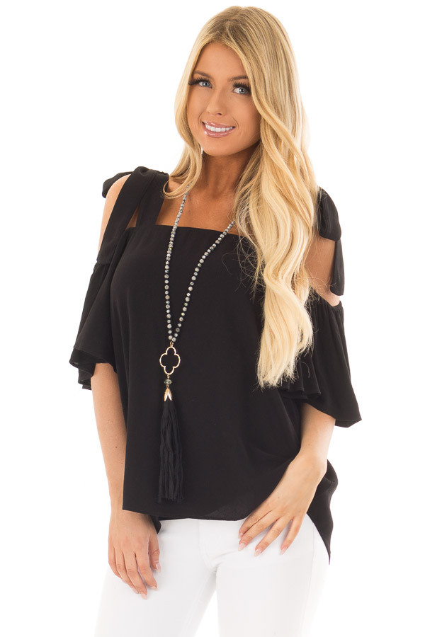 Black Cold Shoulder Top with Tie Straps front close up