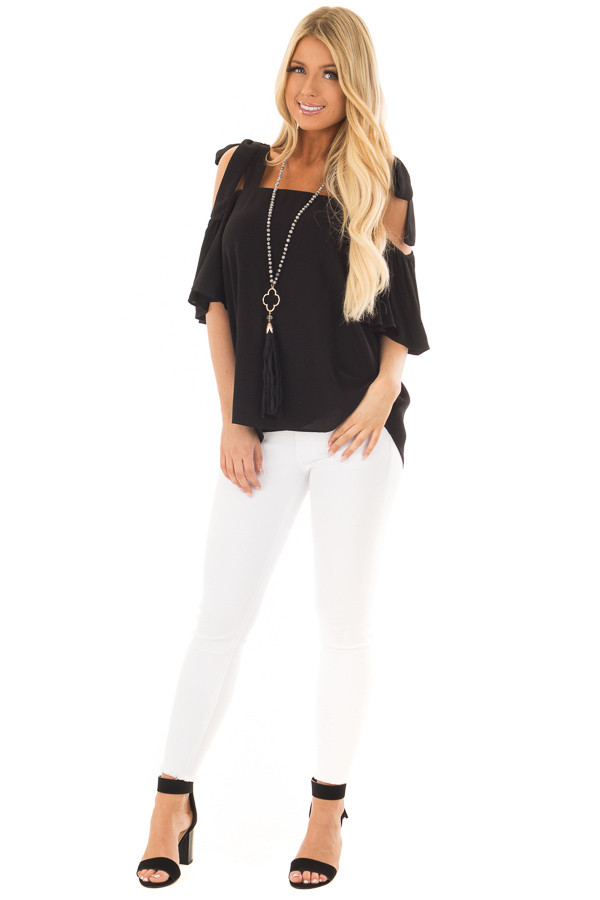Black Cold Shoulder Top with Tie Straps front full body