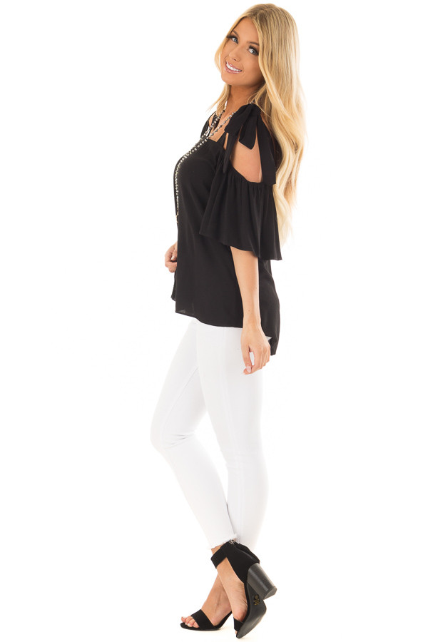 Black Cold Shoulder Top with Tie Straps side full body