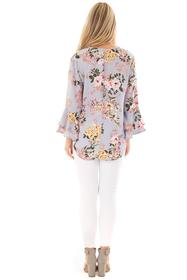 Misty Blue Floral Print Surplice Top with Bell Sleeves back full body