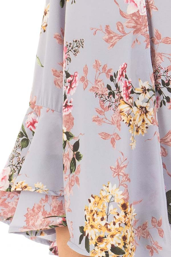 Misty Blue Floral Print Surplice Top with Bell Sleeves detail