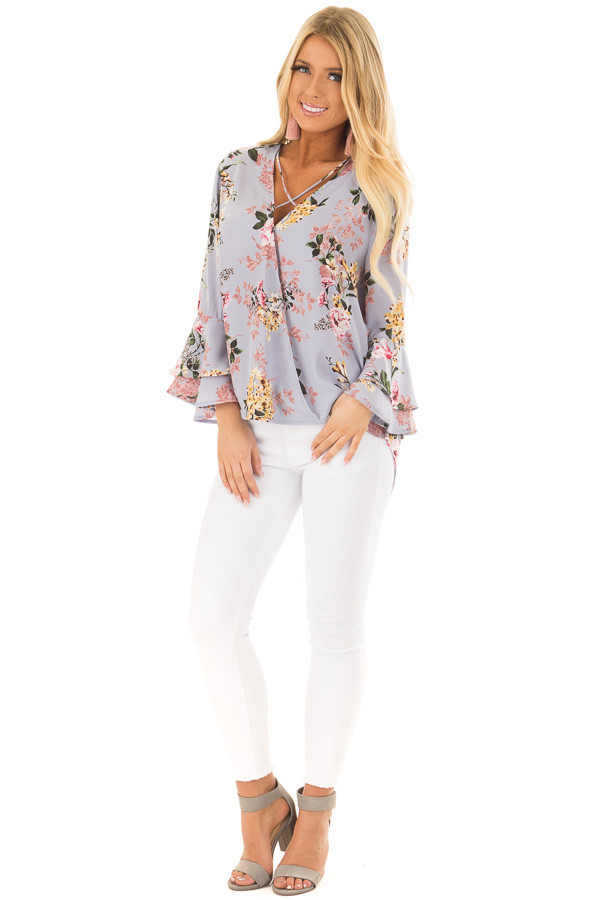 Misty Blue Floral Print Surplice Top with Bell Sleeves front full body