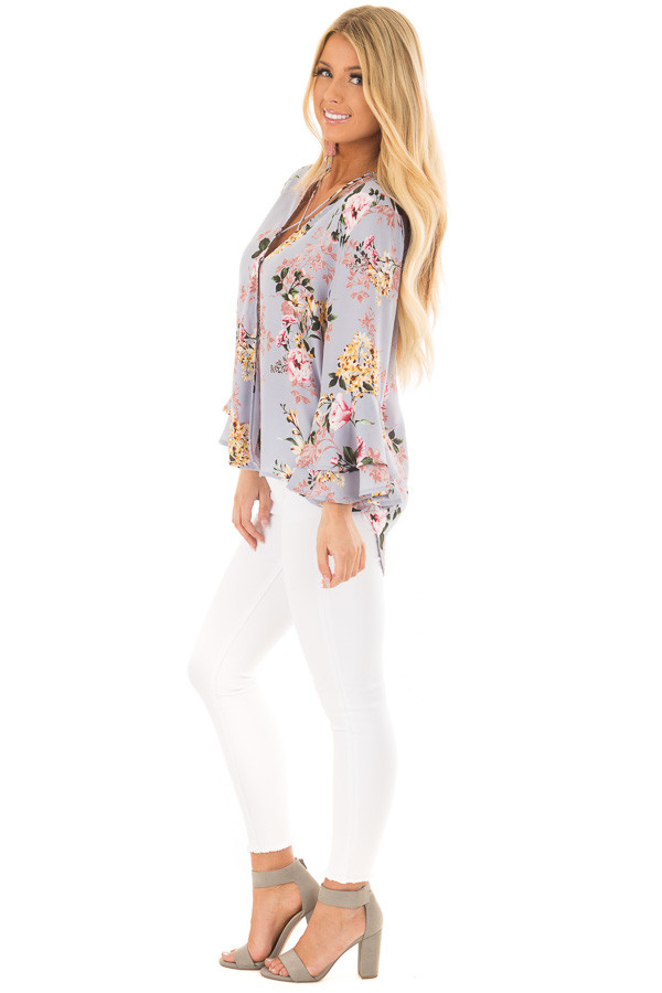 Misty Blue Floral Print Surplice Top with Bell Sleeves side full body