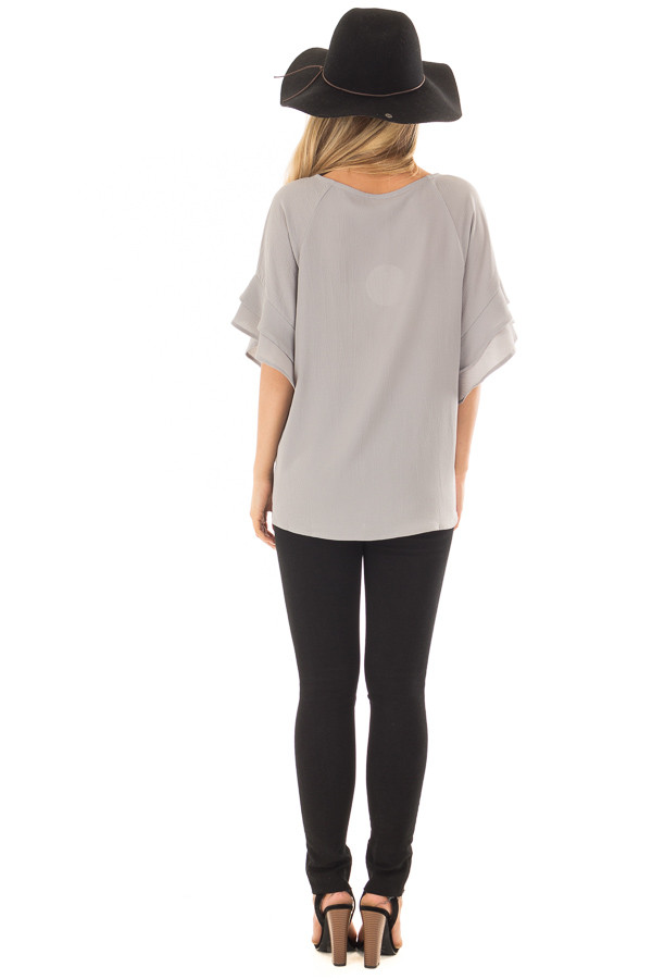 Cool Grey Top with Ruffled Short Sleeves back full body