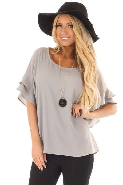 Cool Grey Top with Ruffled Short Sleeves front close up