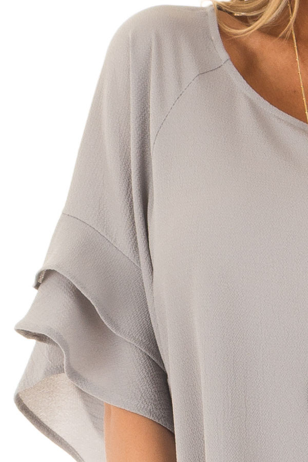 Cool Grey Top with Ruffled Short Sleeves detail