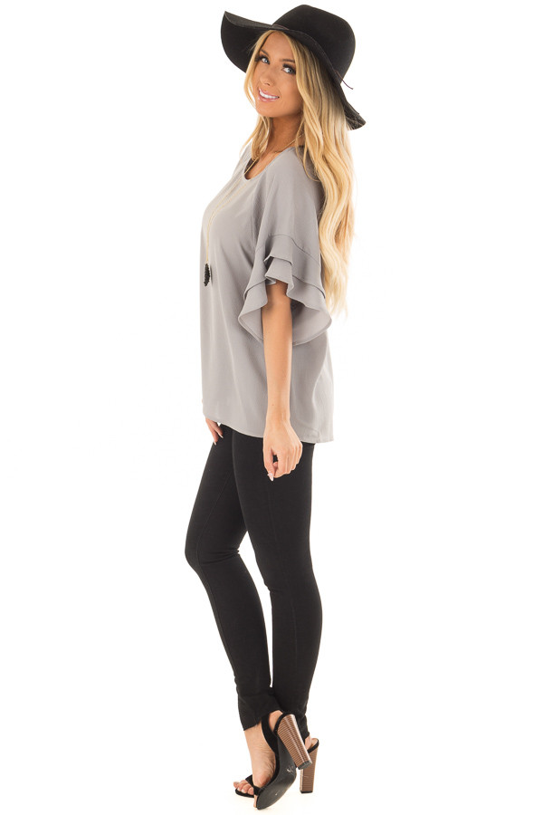Cool Grey Top with Ruffled Short Sleeves side full body