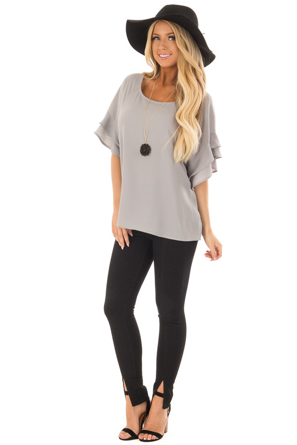 Cool Grey Top with Ruffled Short Sleeves front full body