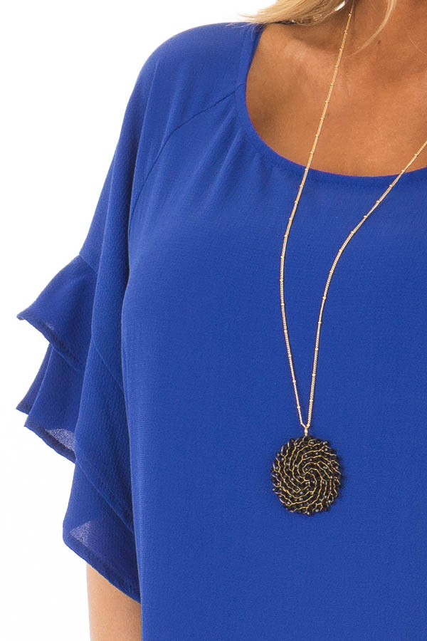 Cobalt Blue Top with Ruffled Short Sleeves detail
