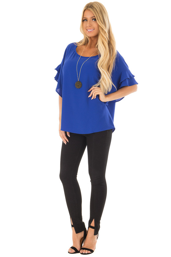 Cobalt Blue Top with Ruffled Short Sleeves front full body