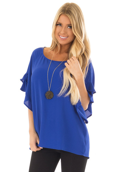 Cobalt Blue Top with Ruffled Short Sleeves front close up