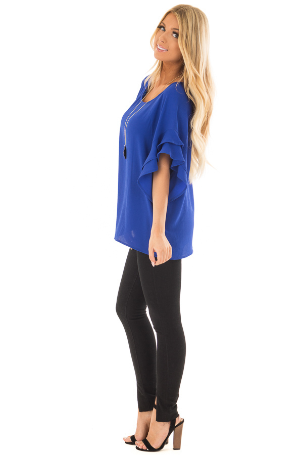 Cobalt Blue Top with Ruffled Short Sleeves side full body