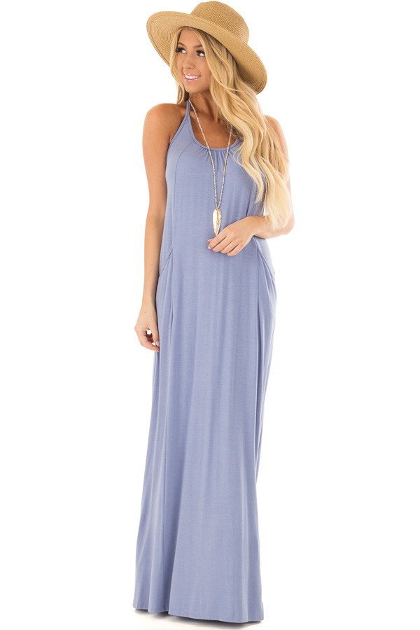 Chambray Maxi Tank Dress with T Strap Open Back Detail front full body