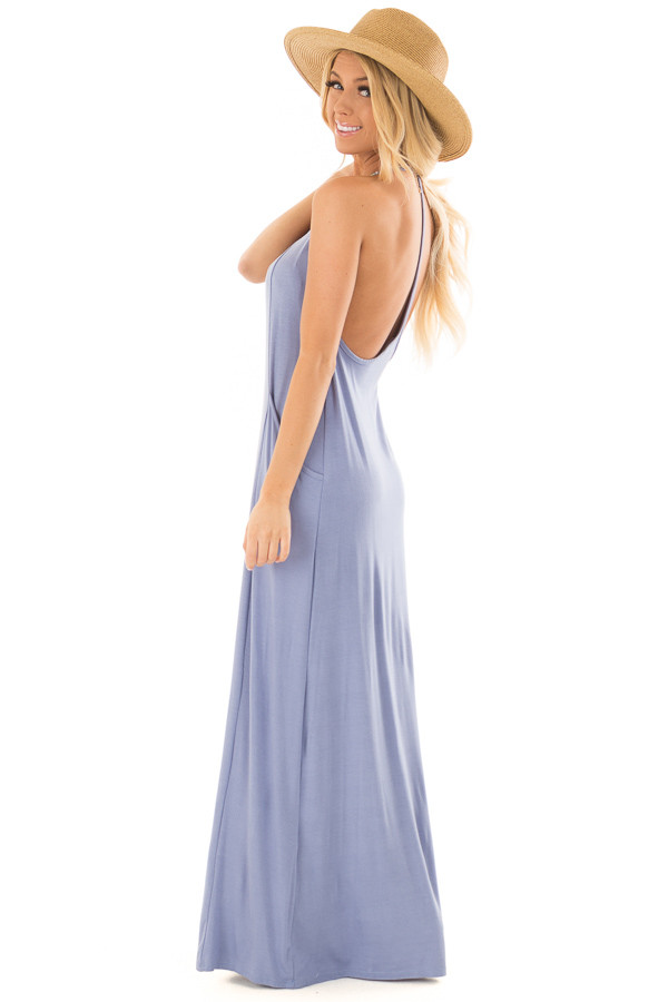 Chambray Maxi Tank Dress with T Strap Open Back Detail side full body