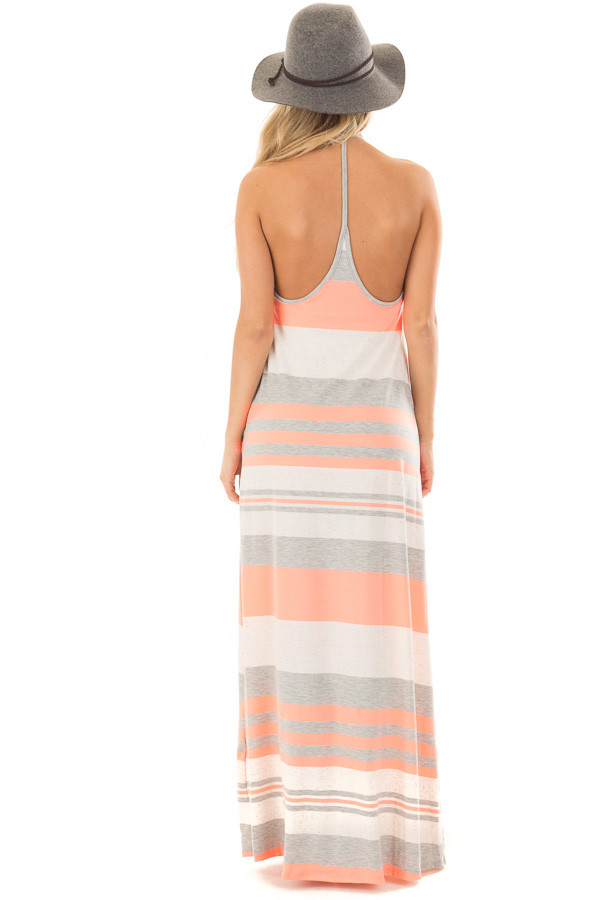 Neon Coral Striped Maxi Tank Dress with Back T Strap Detail back full body