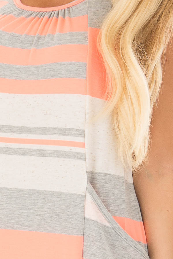 Neon Coral Striped Maxi Tank Dress with Back T Strap Detail detail