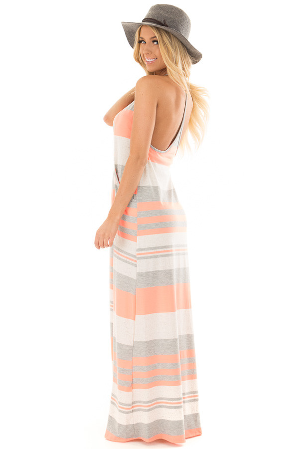 Neon Coral Striped Maxi Tank Dress with Back T Strap Detail back side full body