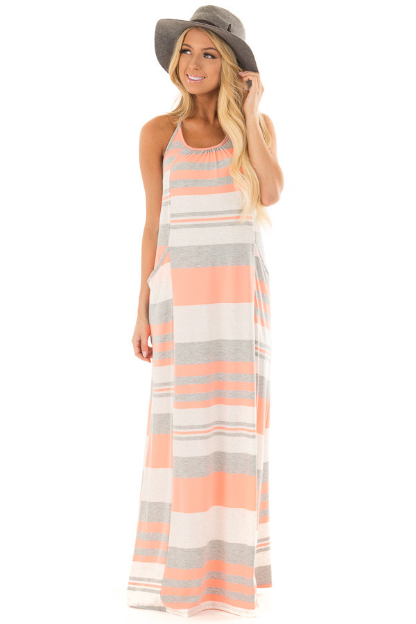 Neon Coral Striped Maxi Tank Dress with Back T Strap Detail front full body