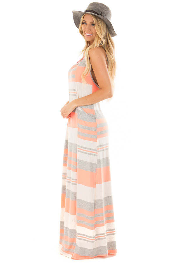 Neon Coral Striped Maxi Tank Dress with Back T Strap Detail side full body