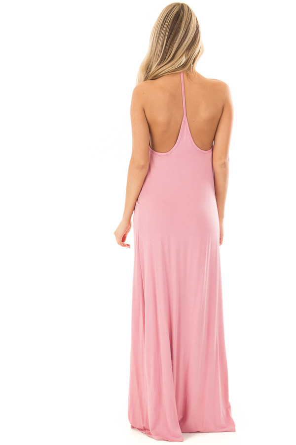 Light Pink Maxi Tank Dress with T Strap Open Back Detail back full body