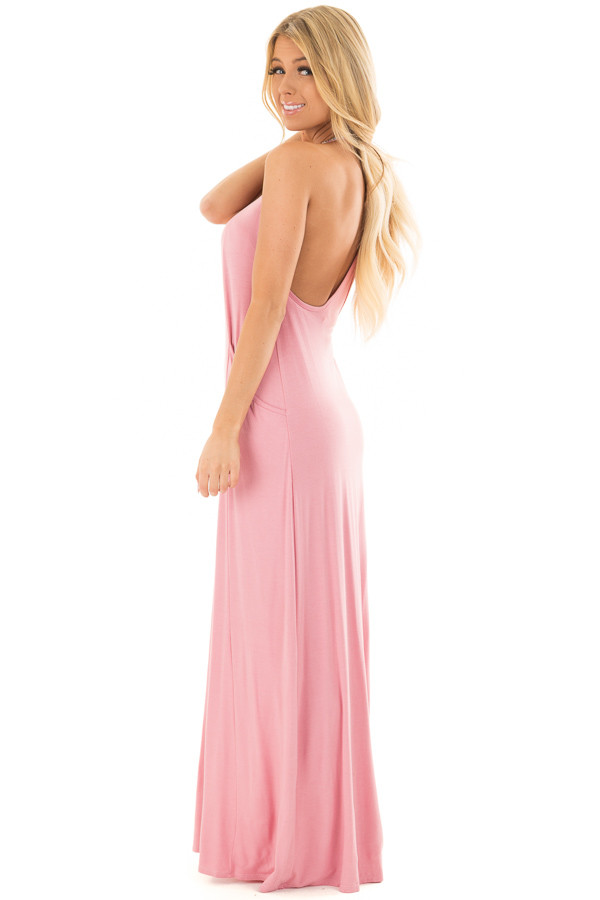 Light Pink Maxi Tank Dress with T Strap Open Back Detail back side full body