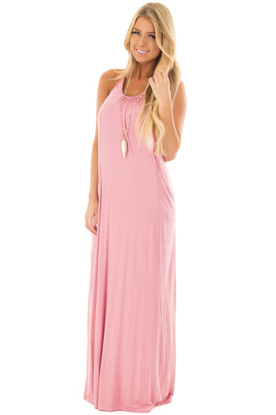 Light Pink Maxi Tank Dress with T Strap Open Back Detail front full body