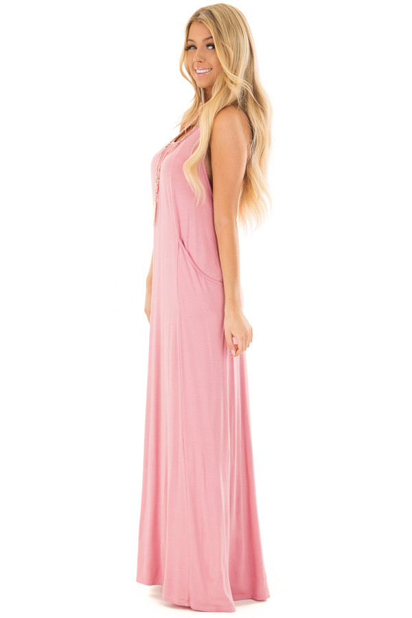 Light Pink Maxi Tank Dress with T Strap Open Back Detail side full body
