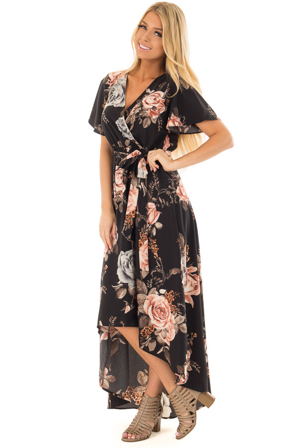 Black Floral Print Surplice Hi Low Dress with Waist Tie front full body